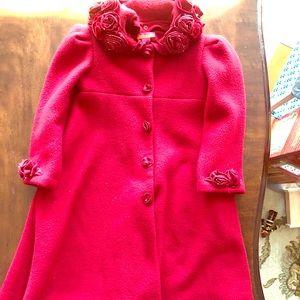 Kate Mack sz 4 dk red fleece long coat velvetroses